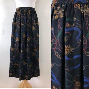 Vintage Skirt 1970s Equestrian Print Size Small